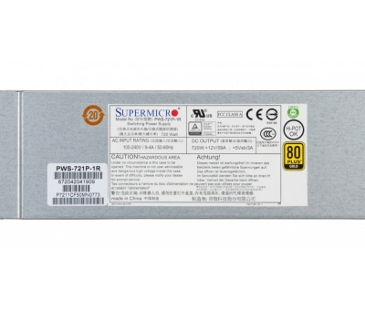 PWS-721P-1R Supermicro 720W 1U Redundant Power Supply