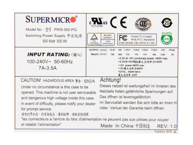 Supermicro PWS-502-PQ 500W Güç Kaynağı Sunucu Tipi
