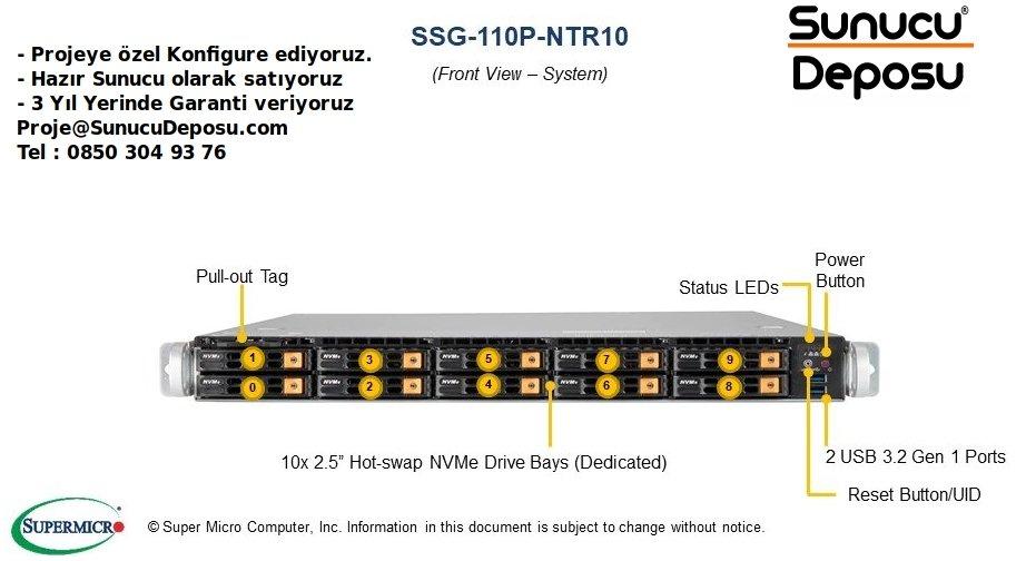 SSG-110P-NTR10 Supermicro Storage SuperServer NVMe Sunucu
